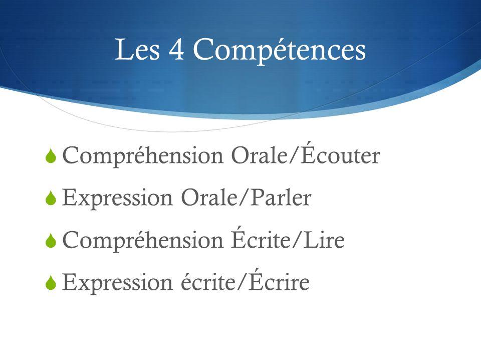 Les 4 Compétences Compréhension Orale/Écouter Expression Orale/Parler Compréhension Écrite/Lire Expression écrite/Écrire