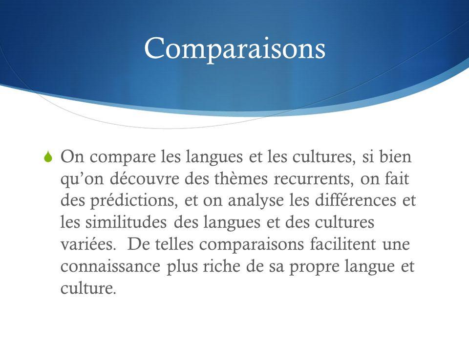 Comparaisons On compare les langues et les cultures, si bien quon découvre des thèmes recurrents, on fait des prédictions, et on analyse les différences et les similitudes des langues et des cultures variées.
