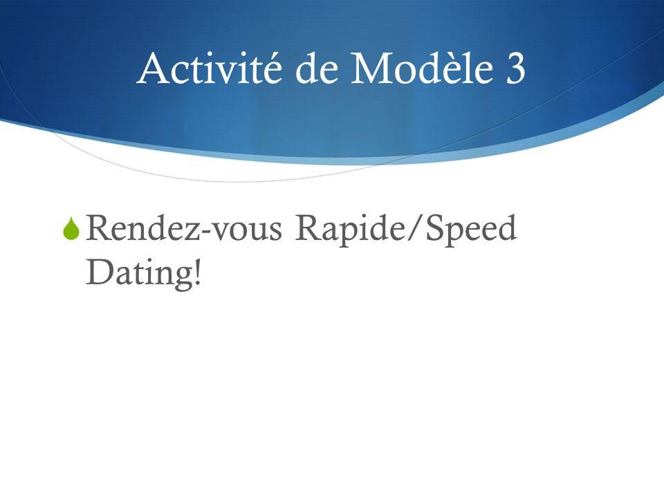 Activité de Modèle 3 Rendez-vous Rapide/Speed Dating!