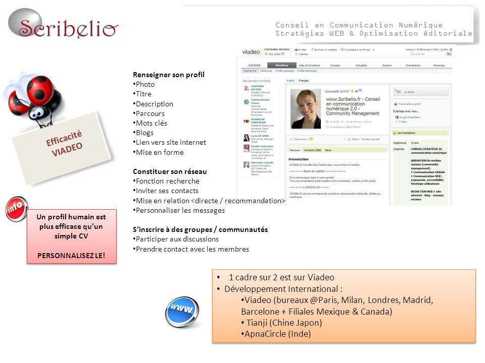 Efficacité VIADEO Un profil humain est plus efficace quun simple CV PERSONNALISEZ LE! Un profil humain est plus efficace quun simple CV PERSONNALISEZ