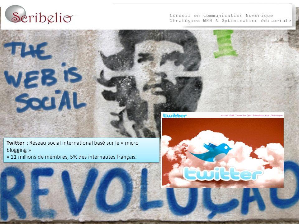 Twitter : Réseau social international basé sur le « micro blogging » = 11 millions de membres, 5% des internautes français.