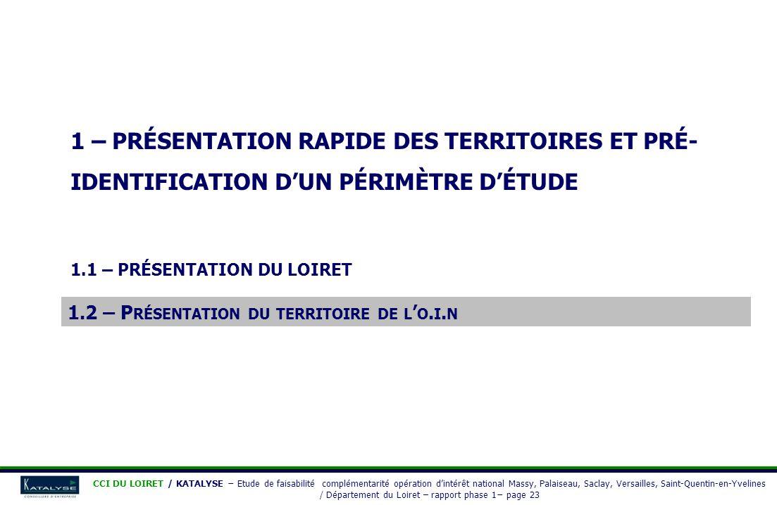 1 – PRÉSENTATION RAPIDE DES TERRITOIRES ET PRÉ- IDENTIFICATION DUN PÉRIMÈTRE DÉTUDE 1.1 – PRÉSENTATION DU LOIRET 1.2 – PRÉSENTATION DU TERRITOIRE DE L