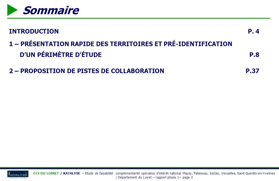 INTRODUCTION 1 – PRÉSENTATION DES TERRITOIRES 2 – PROPOSITION DE PISTES DE COLLABORATION ANNEXES CCI DU LOIRET / KATALYSE Etude de faisabilité complémentarité opération dintérêt national Massy, Palaiseau, Saclay, Versailles, Saint-Quentin-en-Yvelines / Département du Loiret – rapport phase 1 page 4 INTRODUCTION