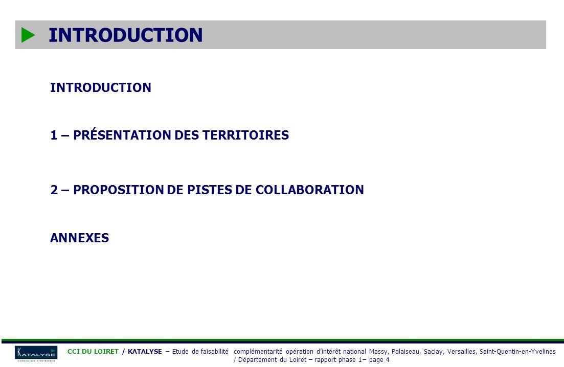 CCI DU LOIRET / KATALYSE Etude de faisabilité complémentarité opération dintérêt national Massy, Palaiseau, Saclay, Versailles, Saint-Quentin-en-Yvelines / Département du Loiret – rapport phase 1 page 45 Désignation dun pilote pour chacun des groupes : Référant du groupe Proposition daxes de travail Proposition de pistes de collaboration GROUPE THÈMES PROPOSÉSPILOTE PARTICIPANTS (structures pressenties) 1 LEFFICACITÉ ÉNERGÉTIQUE - Les pôle de compétitivité : S²E², ADVANCITY - … 2 LES BIOÉNERGIES - Laboratoire énergétique de Mines Paris Tech - Chambre dAgriculture du Loiret - SOFIPROTEOL - ADEME -…