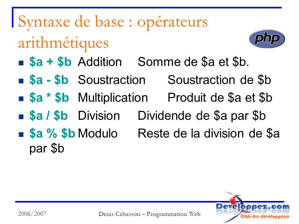 2006/2007 Denis Cabasson – Programmation Web Syntaxe de base : opérateurs arithmétiques $a + $bAdditionSomme de $a et $b.