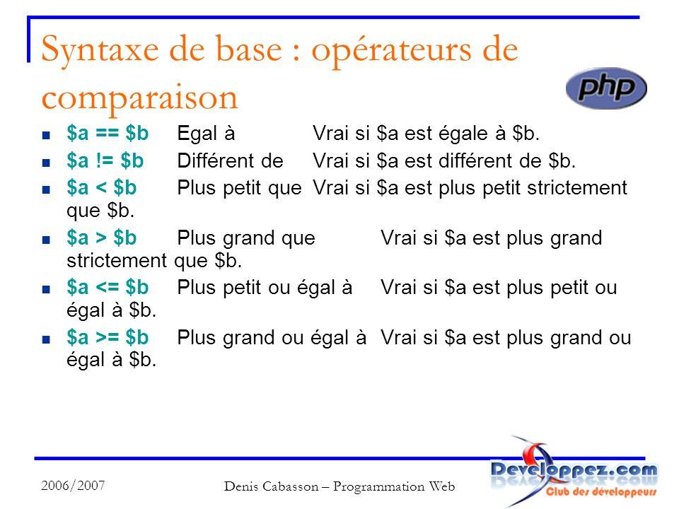 2006/2007 Denis Cabasson – Programmation Web Syntaxe de base : opérateurs de comparaison $a == $bEgal àVrai si $a est égale à $b.