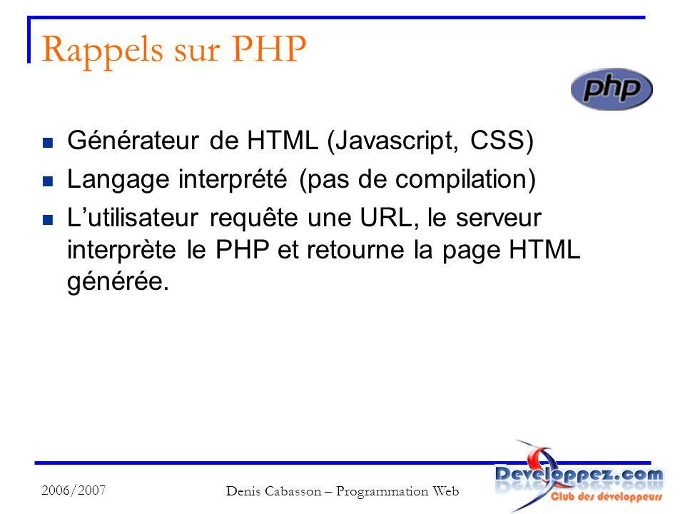 2006/2007 Denis Cabasson – Programmation Web Rappels sur PHP Générateur de HTML (Javascript, CSS) Langage interprété (pas de compilation) Lutilisateur requête une URL, le serveur interprète le PHP et retourne la page HTML générée.