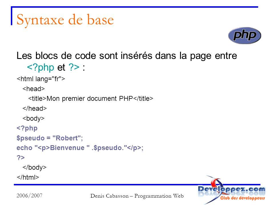 2006/2007 Denis Cabasson – Programmation Web Syntaxe de base Les blocs de code sont insérés dans la page entre : Mon premier document PHP <?php $pseudo = Robert ; echo Bienvenue .$pseudo. ; ?>