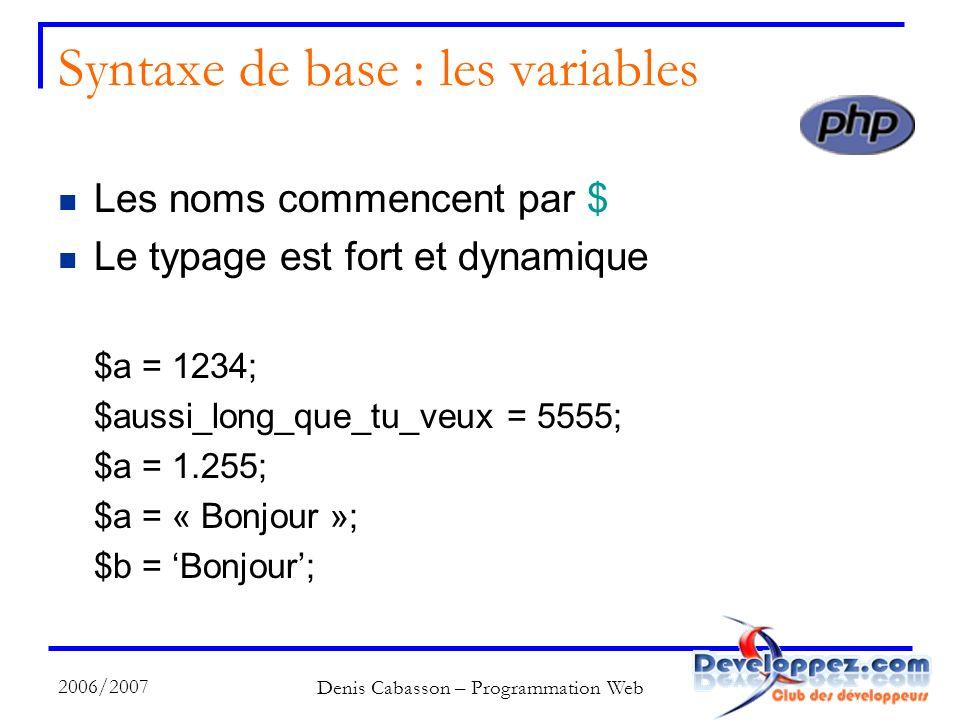 2006/2007 Denis Cabasson – Programmation Web Syntaxe de base : les variables Les noms commencent par $ Le typage est fort et dynamique $a = 1234; $aussi_long_que_tu_veux = 5555; $a = 1.255; $a = « Bonjour »; $b = Bonjour;