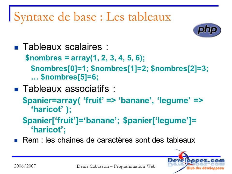 2006/2007 Denis Cabasson – Programmation Web Syntaxe de base : Les tableaux Tableaux scalaires : $nombres = array(1, 2, 3, 4, 5, 6); $nombres[0]=1; $nombres[1]=2; $nombres[2]=3; … $nombres[5]=6; Tableaux associatifs : $panier=array( fruit => banane, legume => haricot ); $panier[fruit]=banane; $panier[legume]= haricot; Rem : les chaines de caractères sont des tableaux