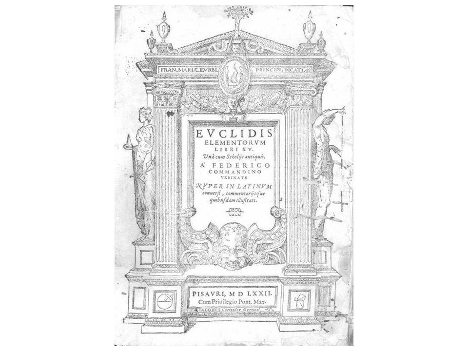 Texte de lédition dHeiberg : 486 propositions Commandino : liste denviron 190 propositions « démontrées dans ce livre en plus de celles qui le sont par Euclide » Clavius : 500 propositions supplémentaires dans ses commentaires