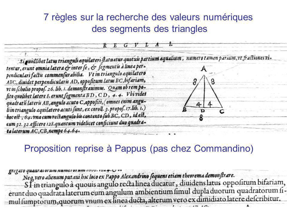 7 règles sur la recherche des valeurs numériques des segments des triangles Proposition reprise à Pappus (pas chez Commandino)