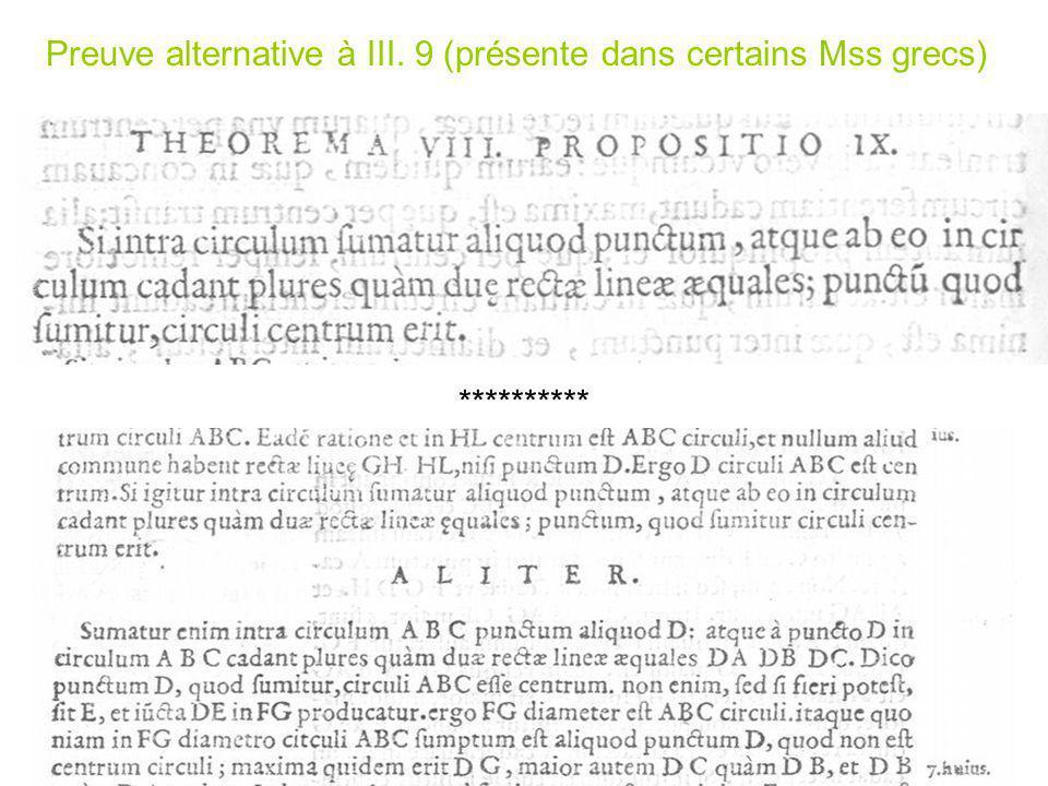 Preuve alternative à III. 9 (présente dans certains Mss grecs) **********