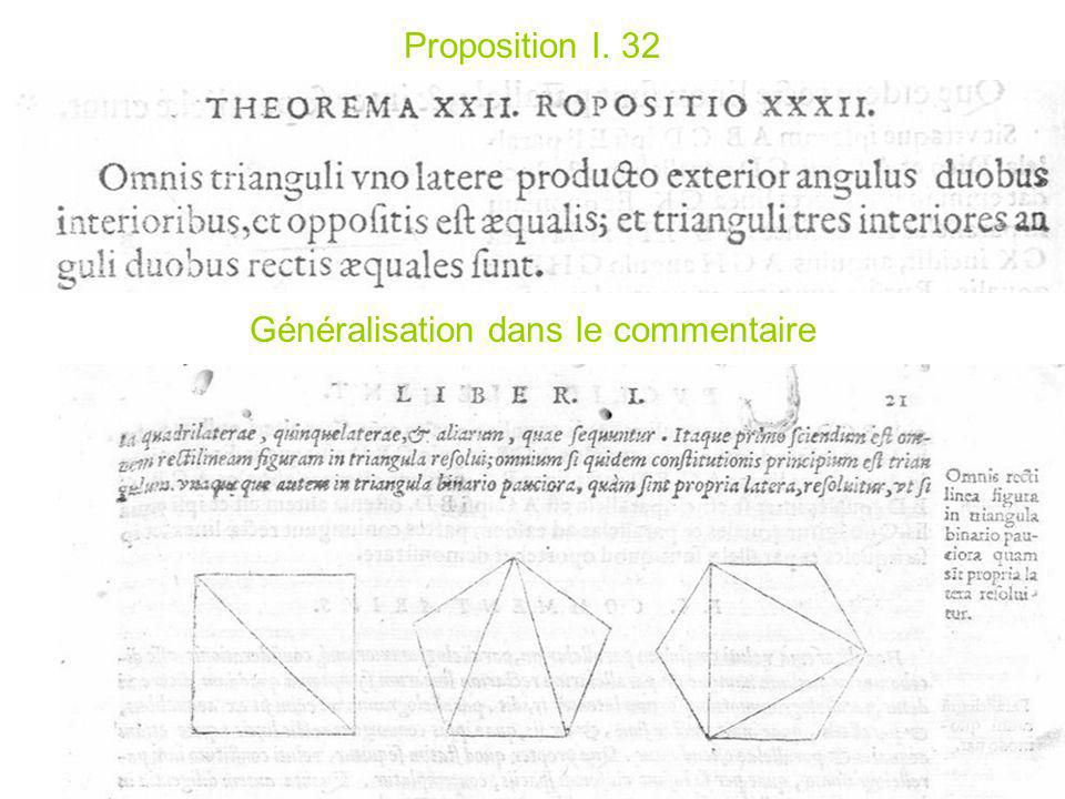 Proposition I. 32 Généralisation dans le commentaire
