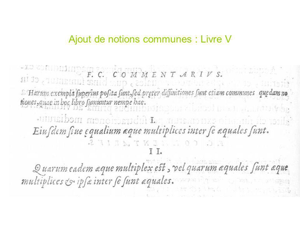 Ajout de notions communes : Livre V