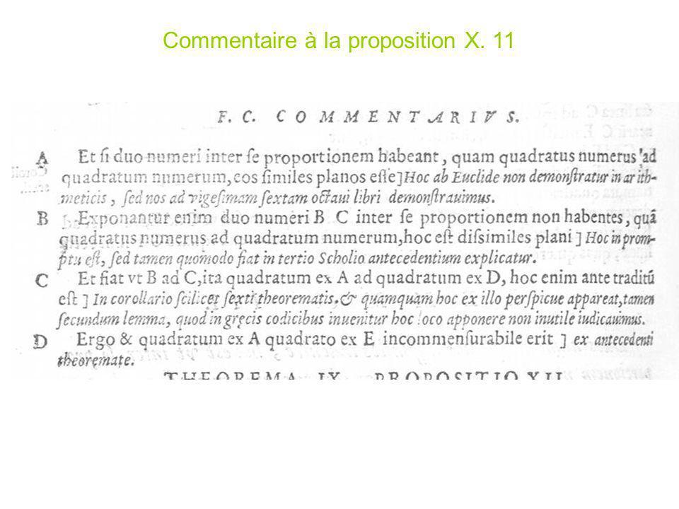 Commentaire à la proposition X. 11