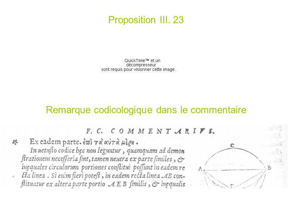 Proposition III. 23 Remarque codicologique dans le commentaire