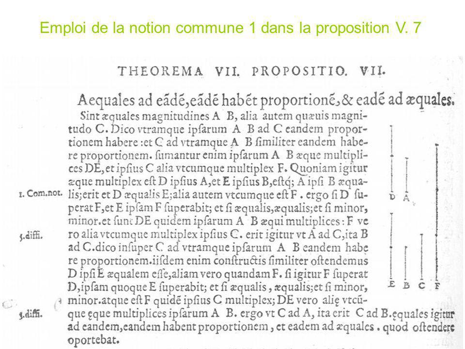 Emploi de la notion commune 1 dans la proposition V. 7