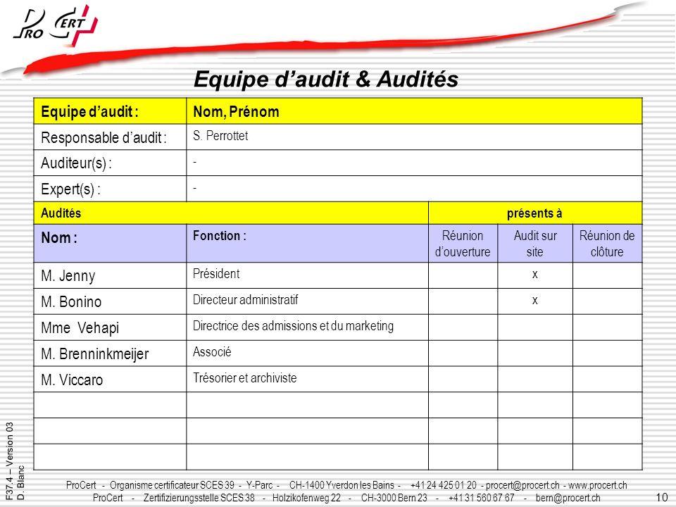 10 ProCert - Organisme certificateur SCES 39 - Y-Parc - CH-1400 Yverdon les Bains - +41 24 425 01 20 - procert@procert.ch - www.procert.ch ProCert - Z