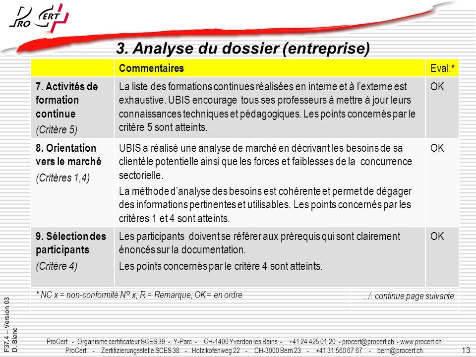 13 ProCert - Organisme certificateur SCES 39 - Y-Parc - CH-1400 Yverdon les Bains - +41 24 425 01 20 - procert@procert.ch - www.procert.ch ProCert - Z