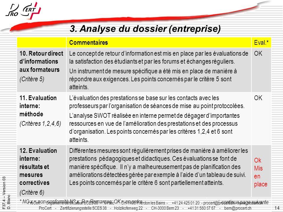 14 ProCert - Organisme certificateur SCES 39 - Y-Parc - CH-1400 Yverdon les Bains - +41 24 425 01 20 - procert@procert.ch - www.procert.ch ProCert - Z