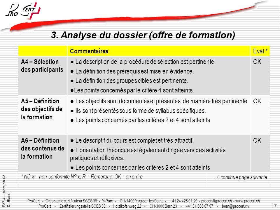17 ProCert - Organisme certificateur SCES 39 - Y-Parc - CH-1400 Yverdon les Bains - +41 24 425 01 20 - procert@procert.ch - www.procert.ch ProCert - Z
