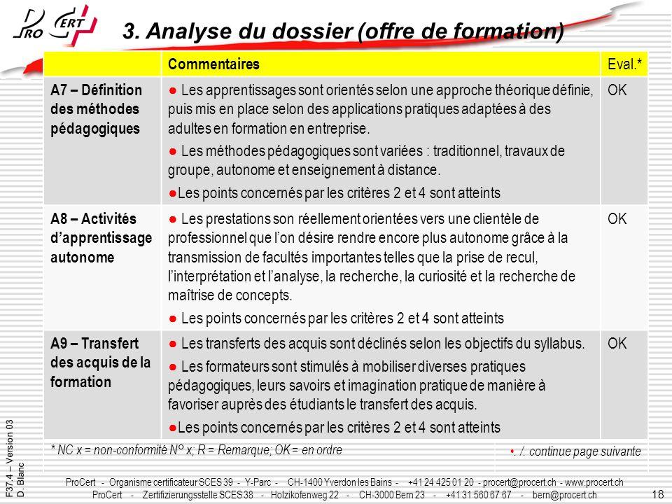18 ProCert - Organisme certificateur SCES 39 - Y-Parc - CH-1400 Yverdon les Bains - +41 24 425 01 20 - procert@procert.ch - www.procert.ch ProCert - Z