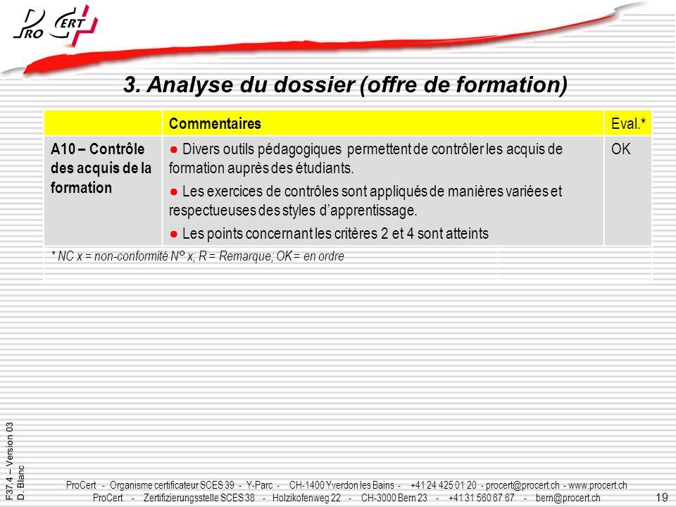19 ProCert - Organisme certificateur SCES 39 - Y-Parc - CH-1400 Yverdon les Bains - +41 24 425 01 20 - procert@procert.ch - www.procert.ch ProCert - Z