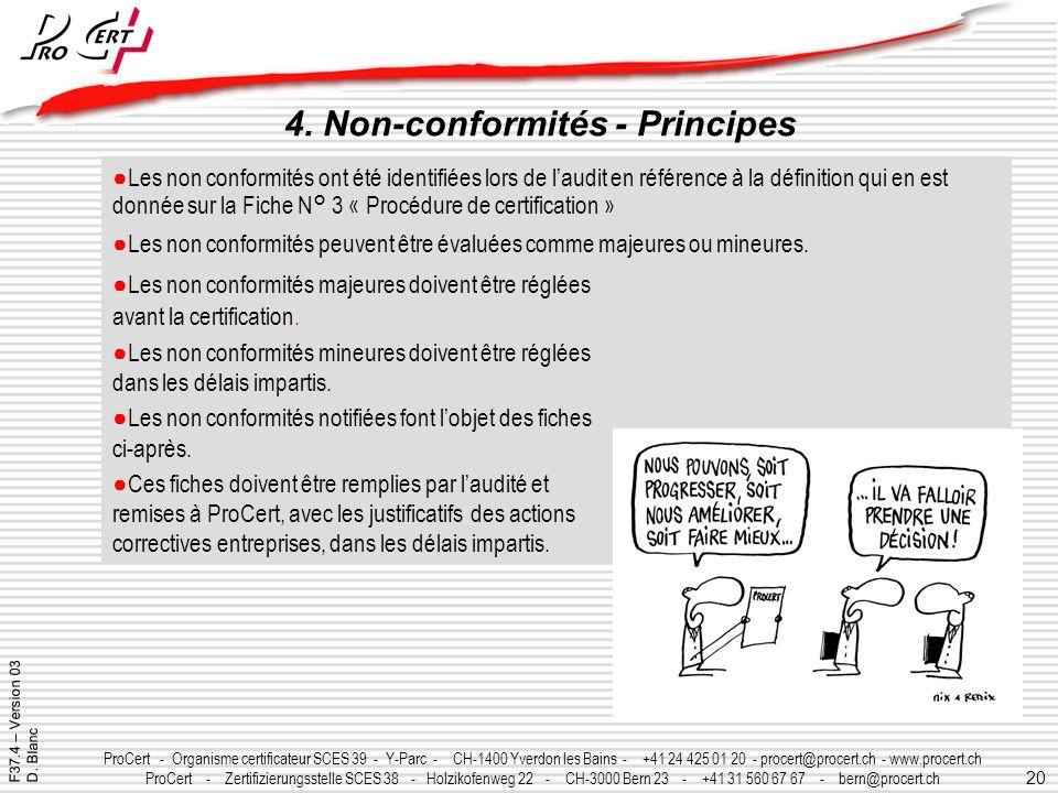 20 ProCert - Organisme certificateur SCES 39 - Y-Parc - CH-1400 Yverdon les Bains - +41 24 425 01 20 - procert@procert.ch - www.procert.ch ProCert - Z