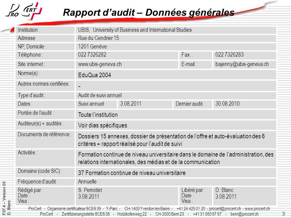 3 ProCert - Organisme certificateur SCES 39 - Y-Parc - CH-1400 Yverdon les Bains - +41 24 425 01 20 - procert@procert.ch - www.procert.ch ProCert - Ze