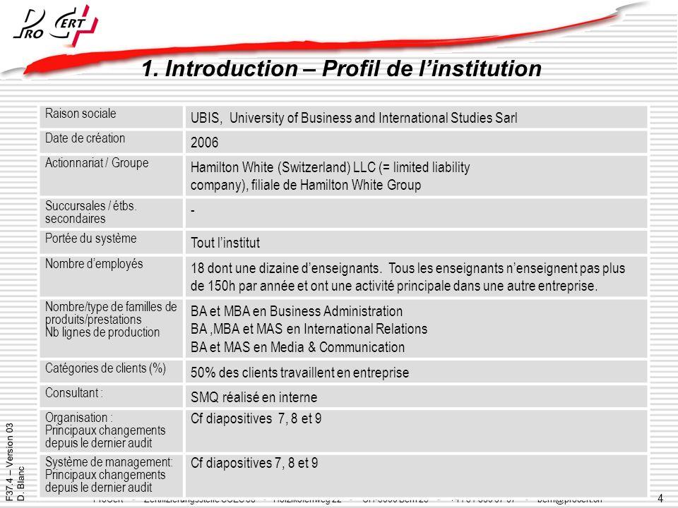 4 ProCert - Organisme certificateur SCES 39 - Y-Parc - CH-1400 Yverdon les Bains - +41 24 425 01 20 - procert@procert.ch - www.procert.ch ProCert - Ze