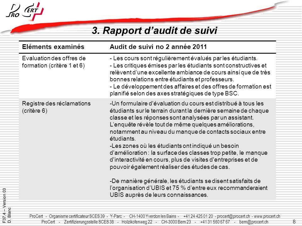 8 ProCert - Organisme certificateur SCES 39 - Y-Parc - CH-1400 Yverdon les Bains - +41 24 425 01 20 - procert@procert.ch - www.procert.ch ProCert - Ze