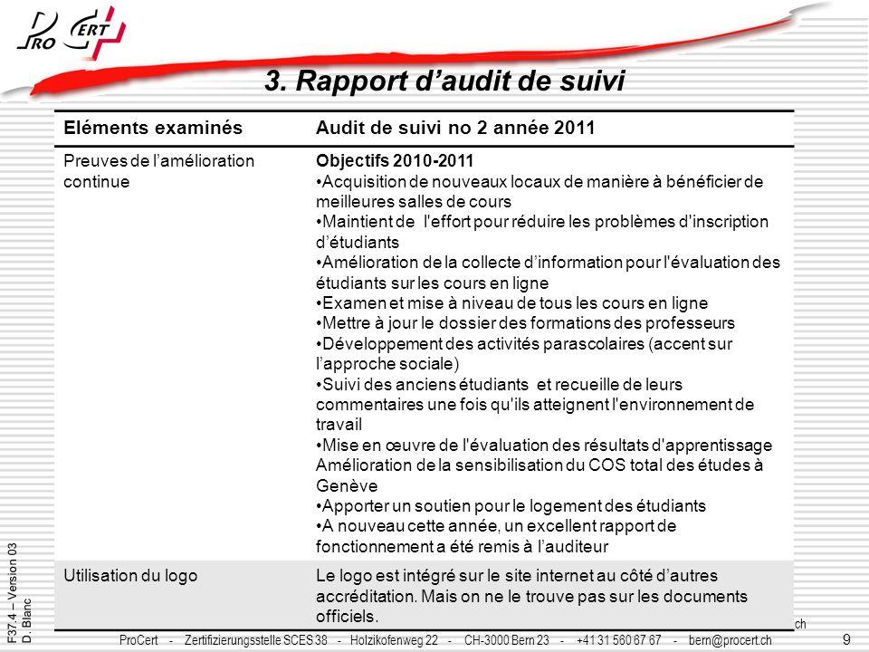 9 ProCert - Organisme certificateur SCES 39 - Y-Parc - CH-1400 Yverdon les Bains - +41 24 425 01 20 - procert@procert.ch - www.procert.ch ProCert - Ze
