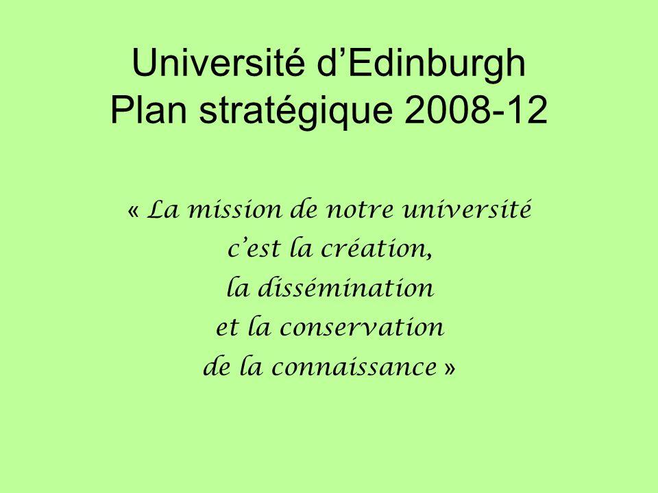 Université dEdinburgh Plan stratégique 2008-12 « La mission de notre université cest la création, la dissémination et la conservation de la connaissance »
