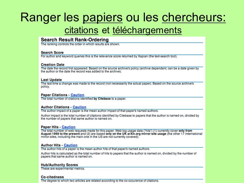 Ranger les papiers ou les chercheurs: citations et téléchargements