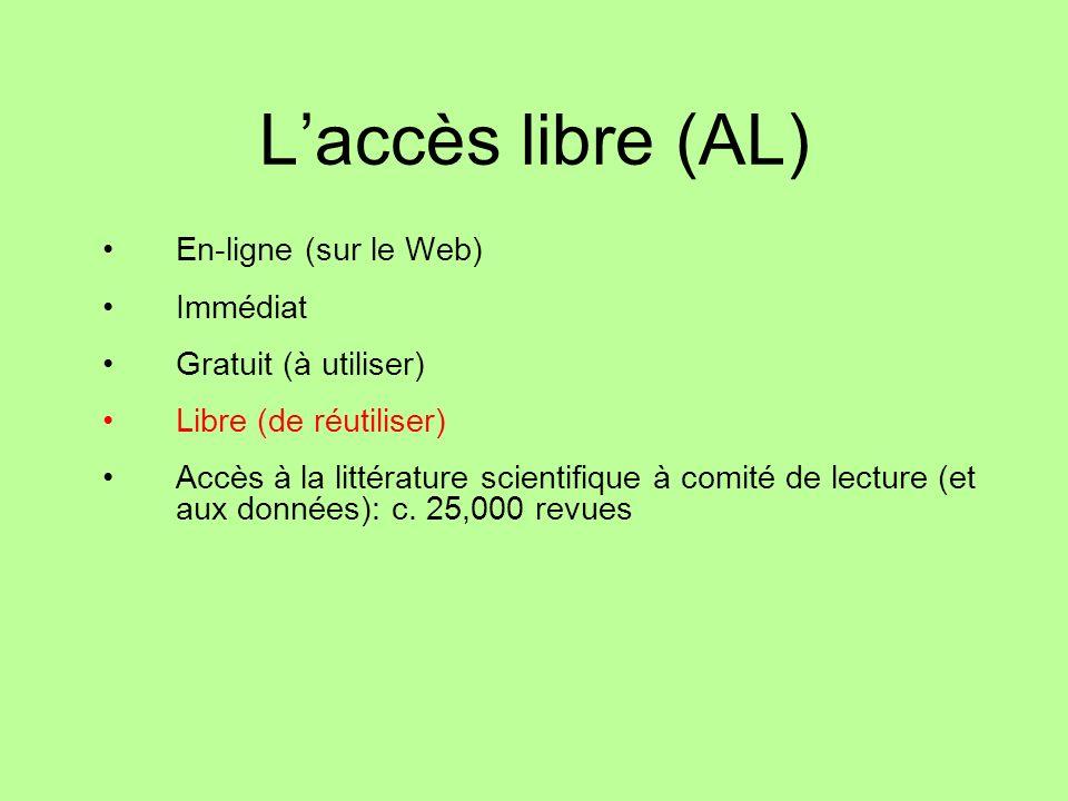 Laccès libre (AL) En-ligne (sur le Web) Immédiat Gratuit (à utiliser) Libre (de réutiliser) Accès à la littérature scientifique à comité de lecture (et aux données): c.