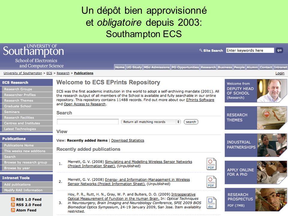 Un dépôt bien approvisionné et obligatoire depuis 2003: Southampton ECS