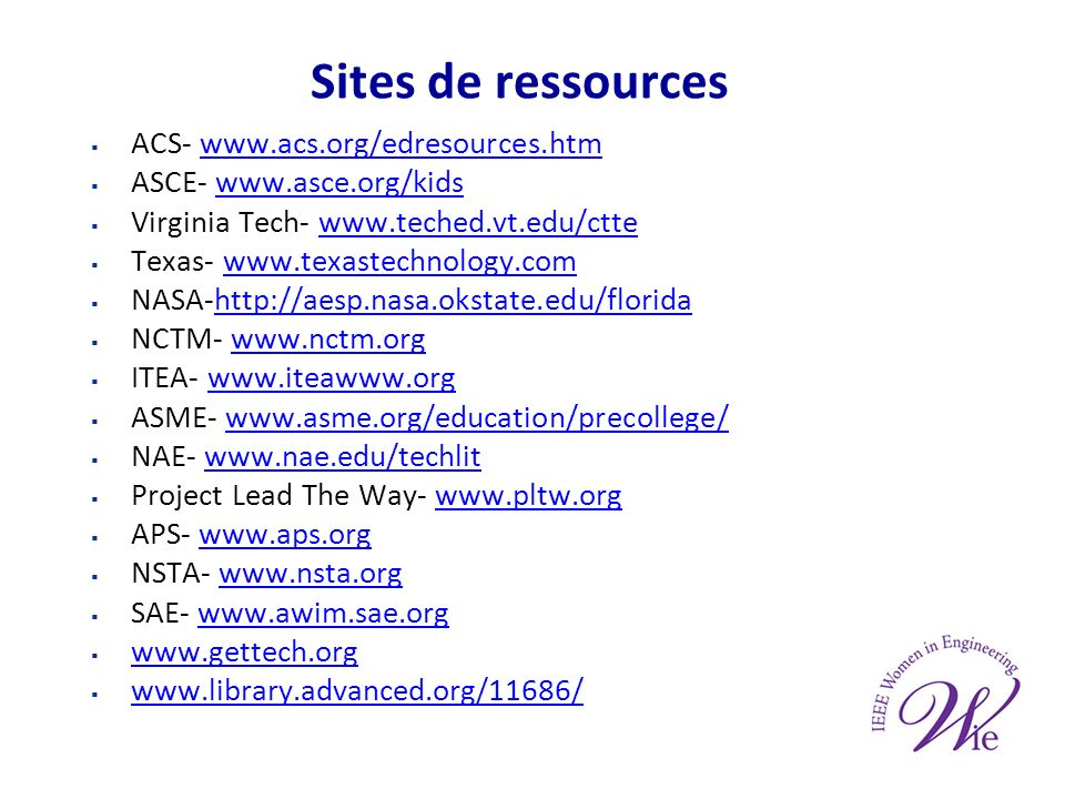 Sites de ressources ACS- www.acs.org/edresources.htmwww.acs.org/edresources.htm ASCE- www.asce.org/kidswww.asce.org/kids Virginia Tech- www.teched.vt.edu/cttewww.teched.vt.edu/ctte Texas- www.texastechnology.comwww.texastechnology.com NASA-http://aesp.nasa.okstate.edu/floridahttp://aesp.nasa.okstate.edu/florida NCTM- www.nctm.orgwww.nctm.org ITEA- www.iteawww.orgwww.iteawww.org ASME- www.asme.org/education/precollege/www.asme.org/education/precollege/ NAE- www.nae.edu/techlitwww.nae.edu/techlit Project Lead The Way- www.pltw.orgwww.pltw.org APS- www.aps.orgwww.aps.org NSTA- www.nsta.orgwww.nsta.org SAE- www.awim.sae.orgwww.awim.sae.org www.gettech.org www.library.advanced.org/11686/