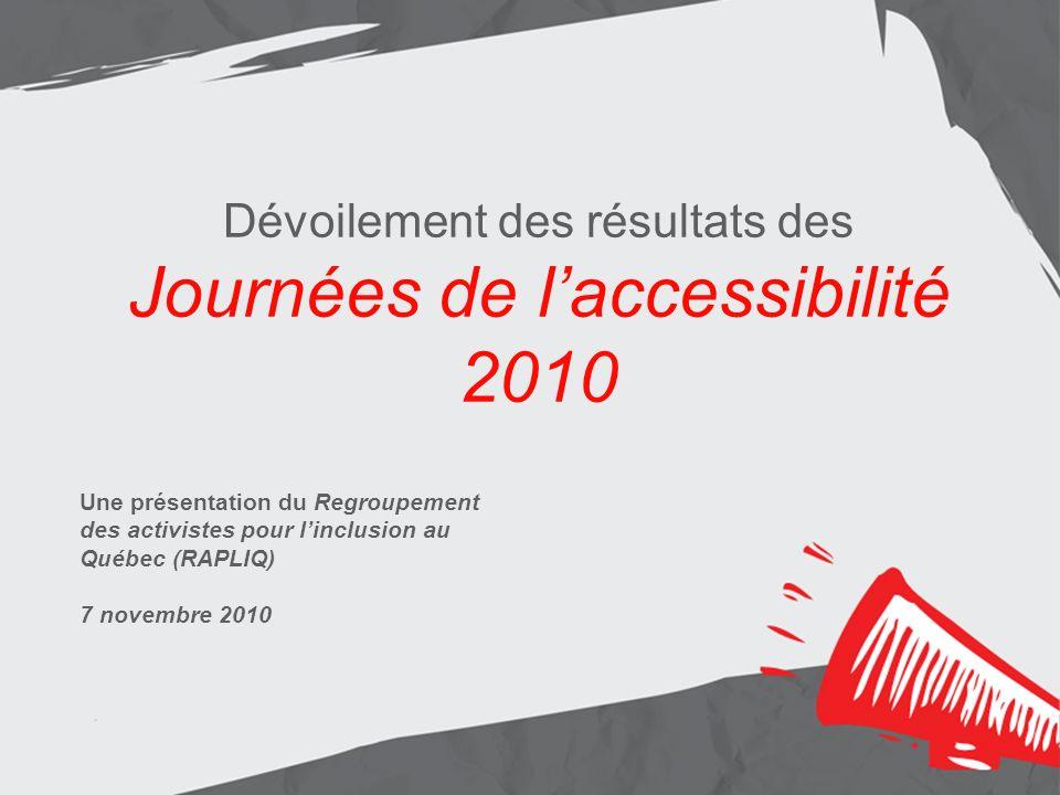 Dévoilement des résultats des Journées de laccessibilité 2010 Une présentation du Regroupement des activistes pour linclusion au Québec (RAPLIQ) 7 nov