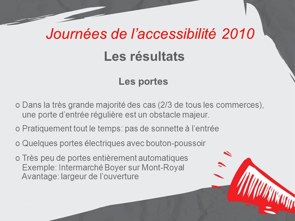 Journées de laccessibilité 2010 Les résultats Aménagement de lentrée principale Journées de laccessibilité 2010 Les résultats Les portes o Dans la très grande majorité des cas (2/3 de tous les commerces), une porte dentrée régulière est un obstacle majeur.