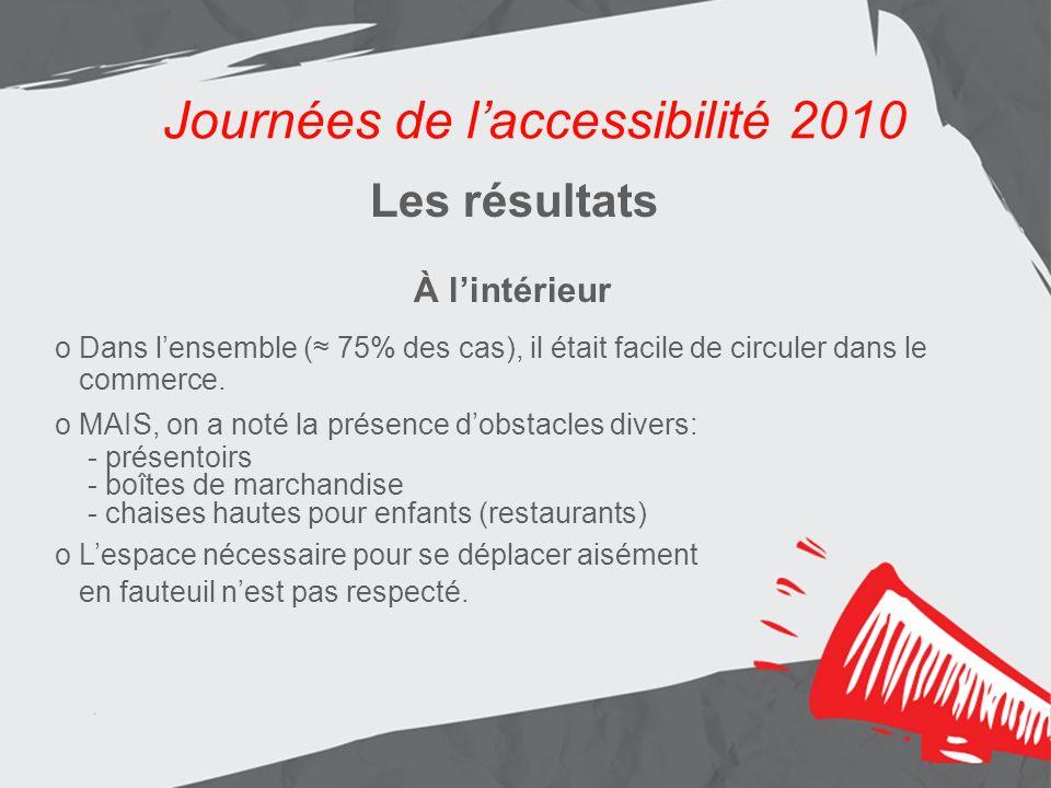 Journées de laccessibilité 2010 Les résultats Aménagement de lentrée principale Journées de laccessibilité 2010 Les résultats À lintérieur o Dans lensemble ( 75% des cas), il était facile de circuler dans le commerce.