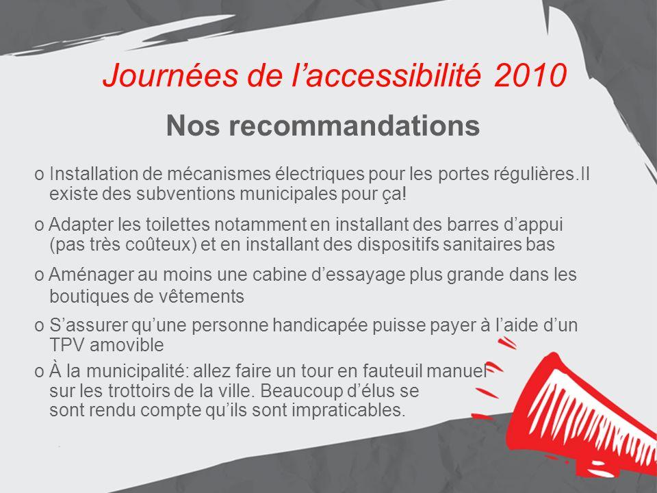 Journées de laccessibilité 2010 Les résultats Aménagement de lentrée principale Journées de laccessibilité 2010 Nos recommandations o Installation de
