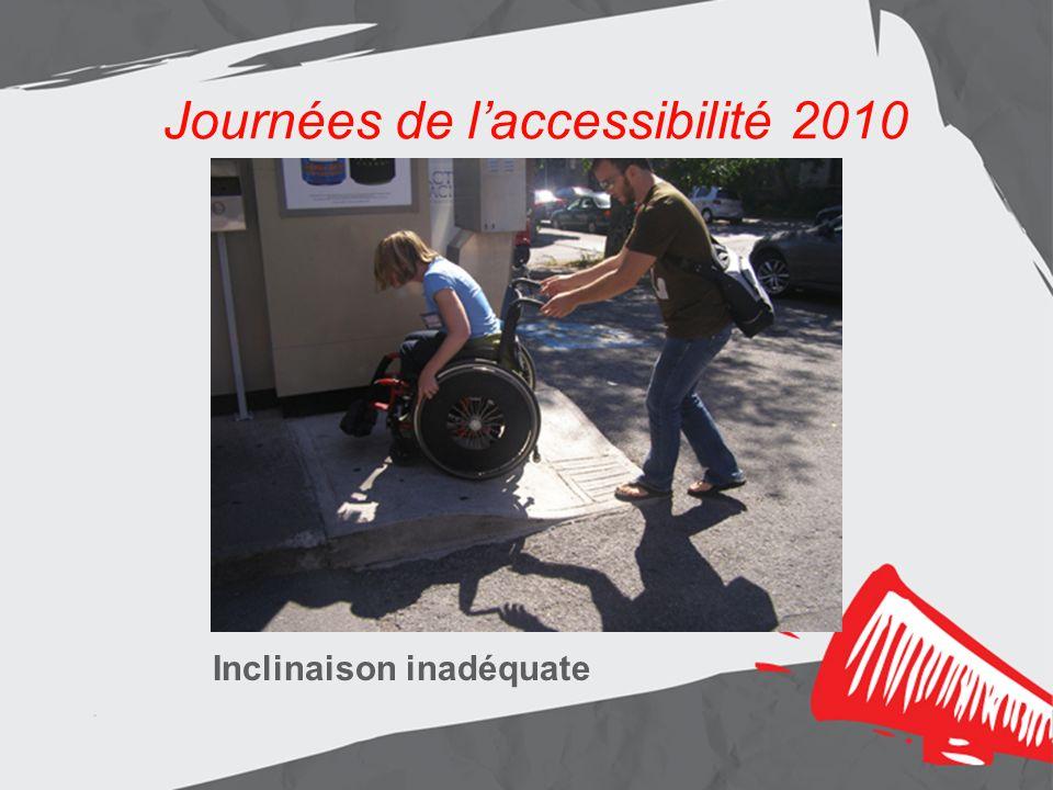 Journées de laccessibilité 2010 Inclinaison inadéquate