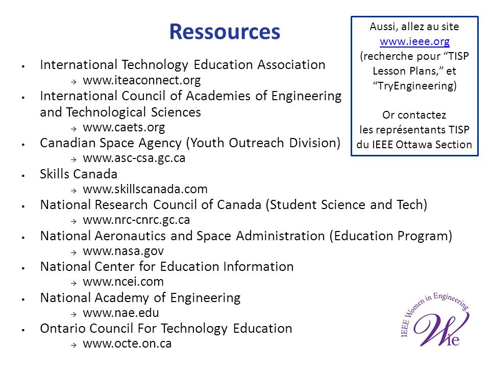 Ressources International Technology Education Association www.iteaconnect.org International Council of Academies of Engineering and Technological Scie