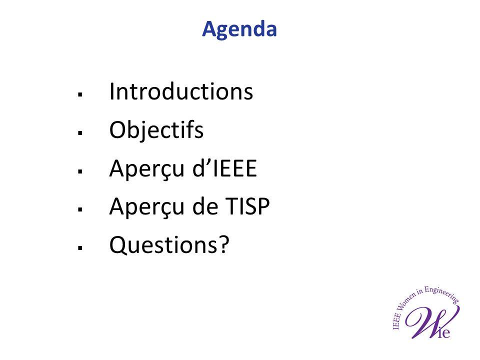 Agenda Introductions Objectifs Aperçu dIEEE Aperçu de TISP Questions