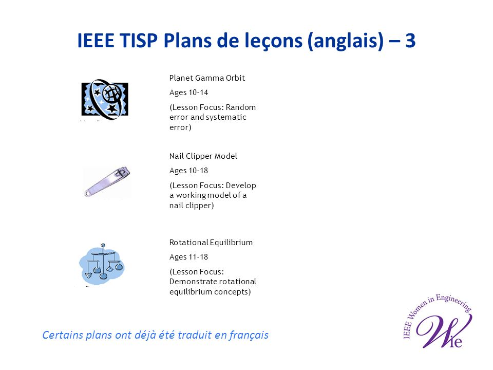 IEEE TISP Plans de leçons (anglais) – 3 Planet Gamma Orbit Ages 10-14 (Lesson Focus: Random error and systematic error) Nail Clipper Model Ages 10-18 (Lesson Focus: Develop a working model of a nail clipper) Rotational Equilibrium Ages 11-18 (Lesson Focus: Demonstrate rotational equilibrium concepts) Certains plans ont déjà été traduit en français