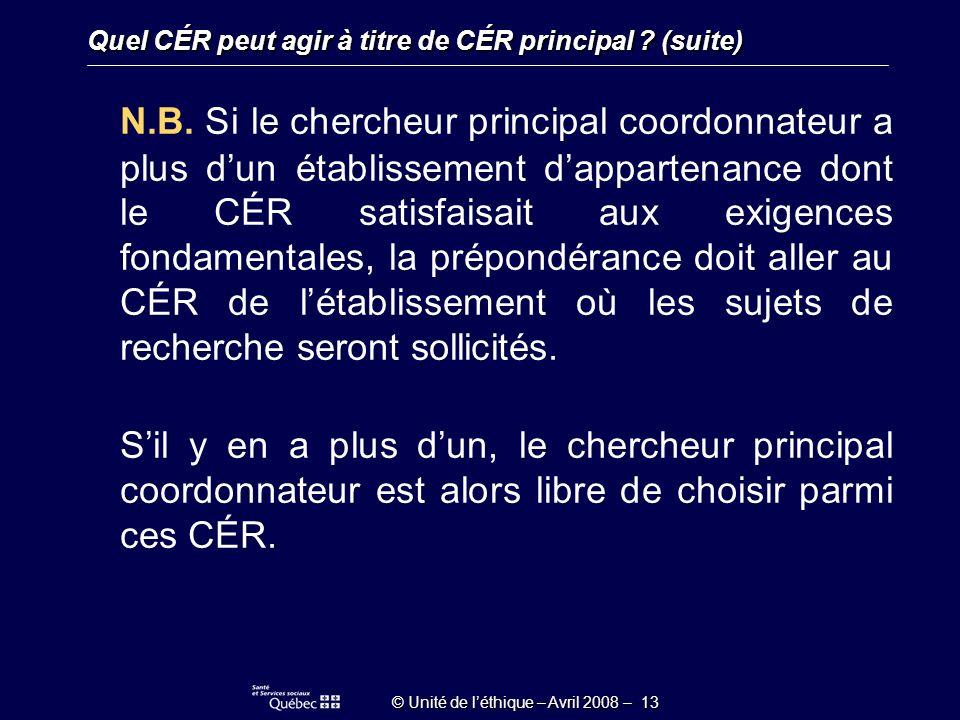 © Unité de léthique – Avril 2008 – 13 N.B.