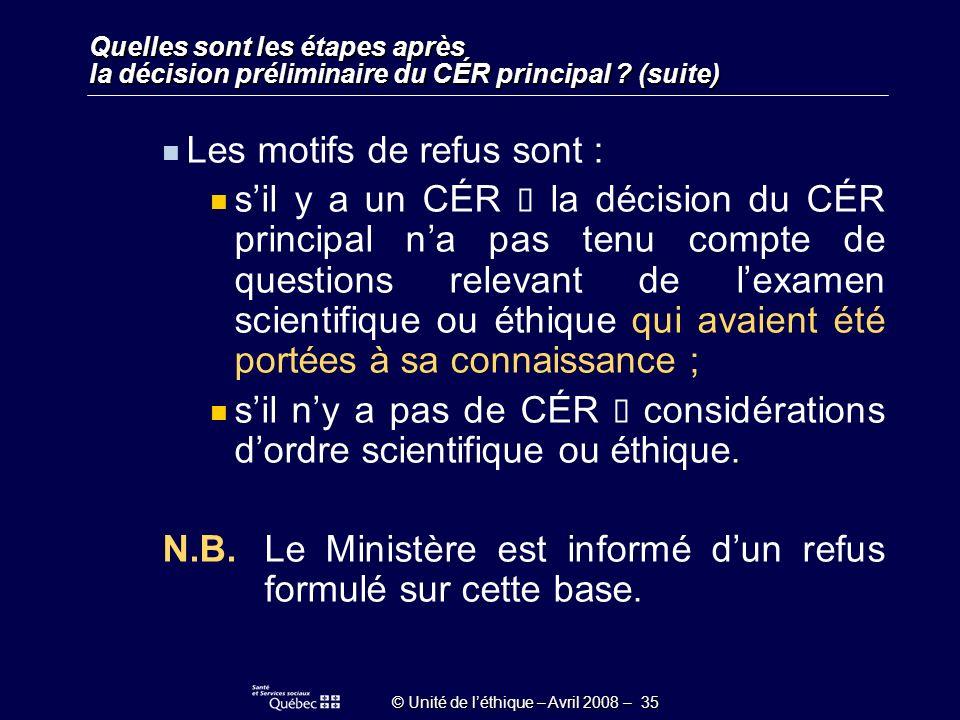 © Unité de léthique – Avril 2008 – 35 Quelles sont les étapes après la décision préliminaire du CÉR principal .