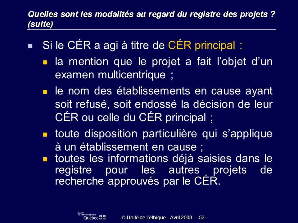 © Unité de léthique – Avril 2008 – 53 Quelles sont les modalités au regard du registre des projets .