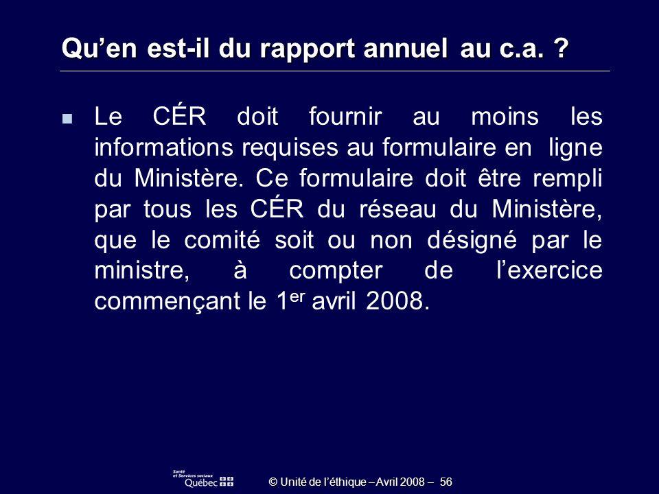 © Unité de léthique – Avril 2008 – 56 Quen est-il du rapport annuel au c.a.